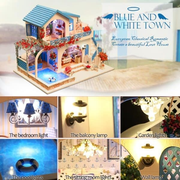 Blue and White Town DIY 3D Dollhouse